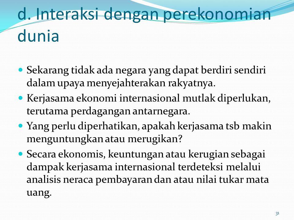 d. Interaksi dengan perekonomian dunia