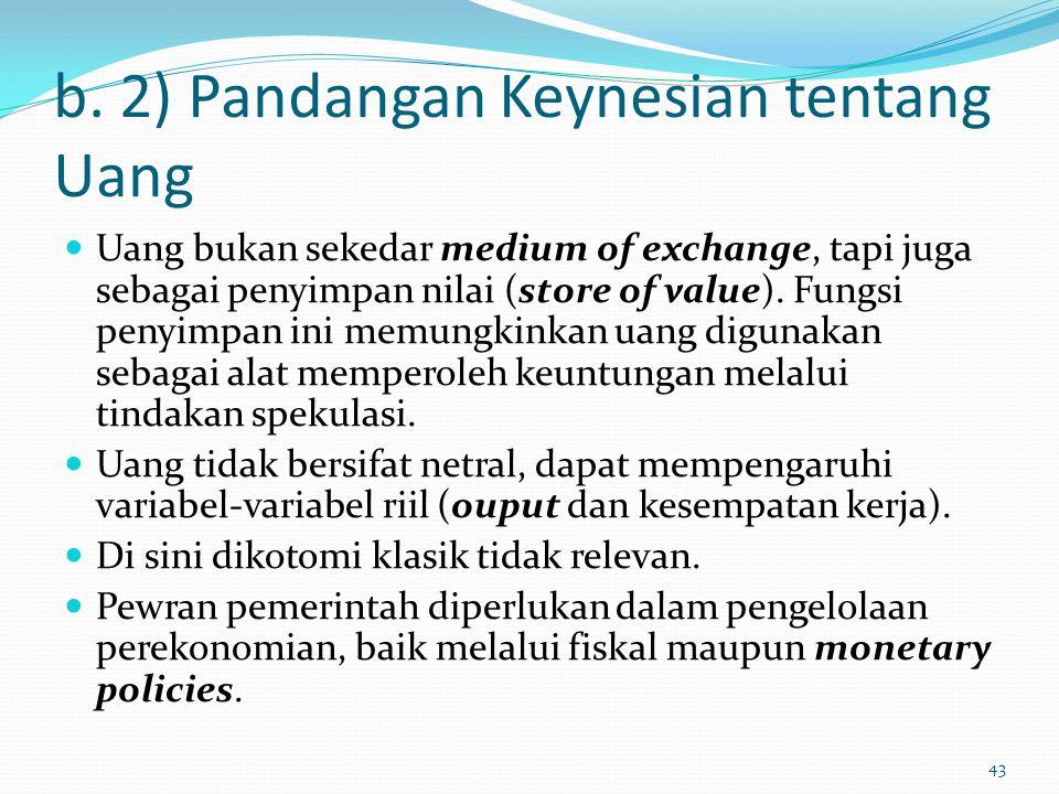 b. 2) Pandangan Keynesian tentang Uang