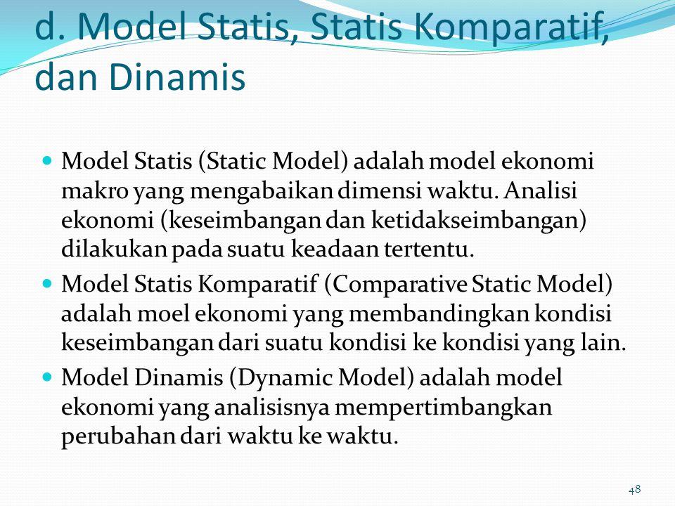 d. Model Statis, Statis Komparatif, dan Dinamis