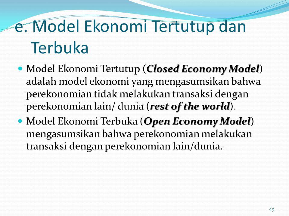 e. Model Ekonomi Tertutup dan Terbuka