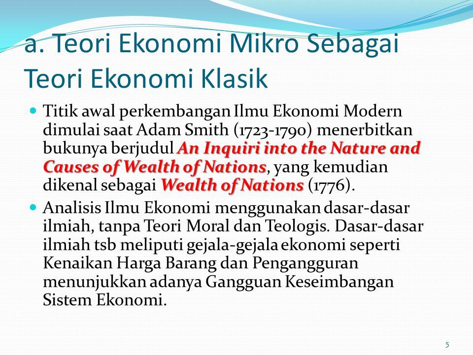 a. Teori Ekonomi Mikro Sebagai Teori Ekonomi Klasik