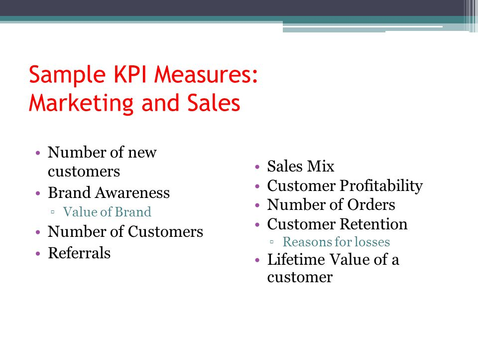 Sample KPI Measures: Marketing and Sales