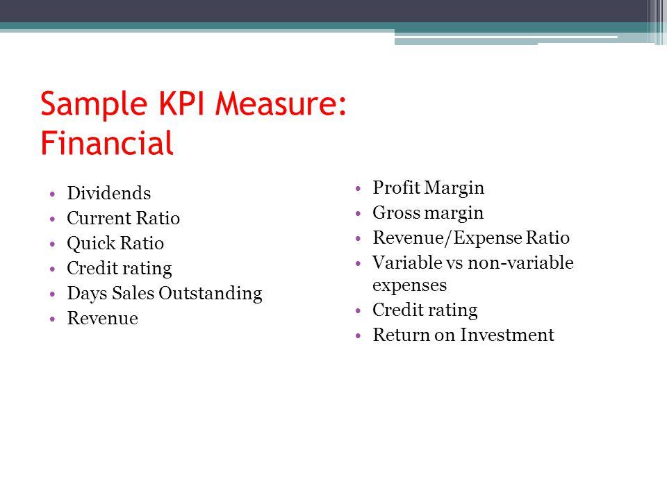 Sample KPI Measure: Financial