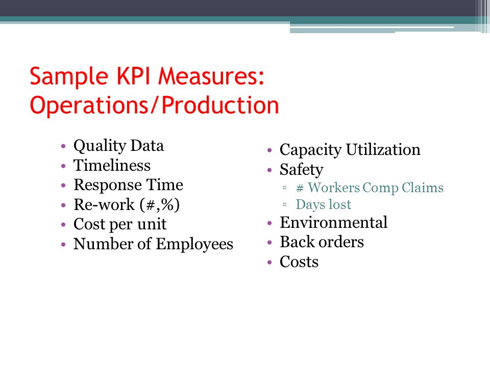 Sample KPI Measures: Operations/Production