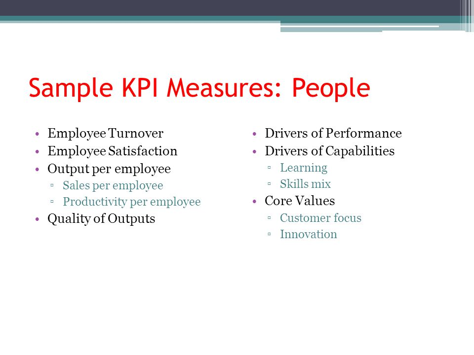 Sample KPI Measures: People