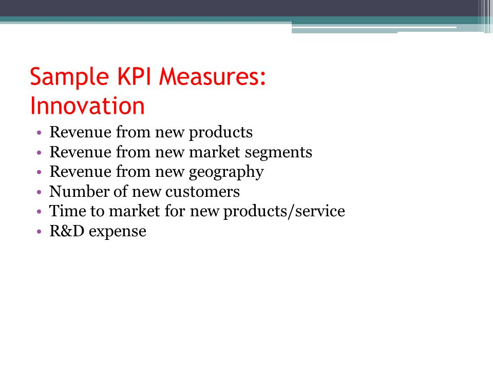 Sample KPI Measures: Innovation