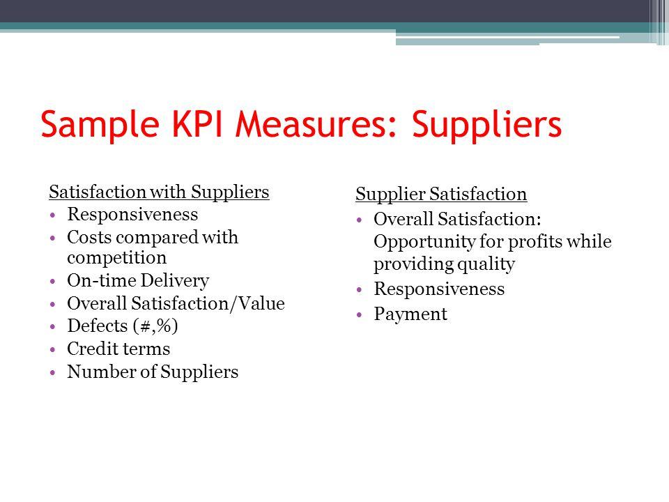 Sample KPI Measures: Suppliers