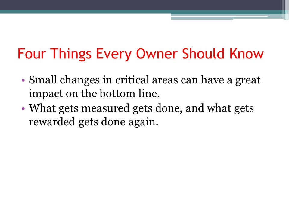 Four Things Every Owner Should Know