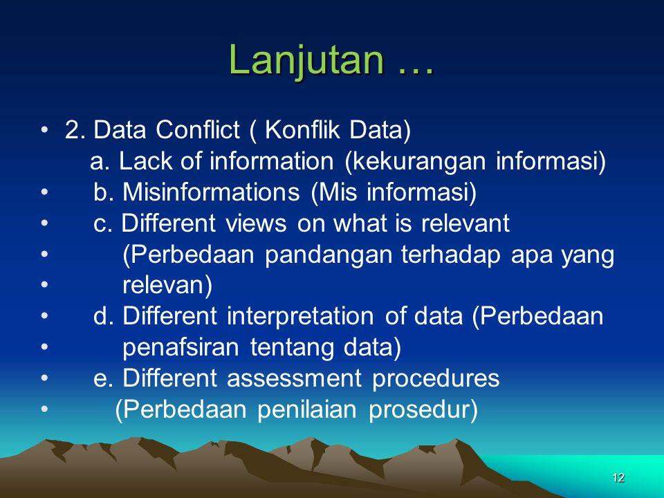 Lanjutan … 2. Data Conflict ( Konflik Data)