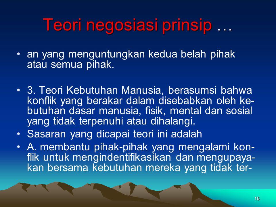Teori negosiasi prinsip …