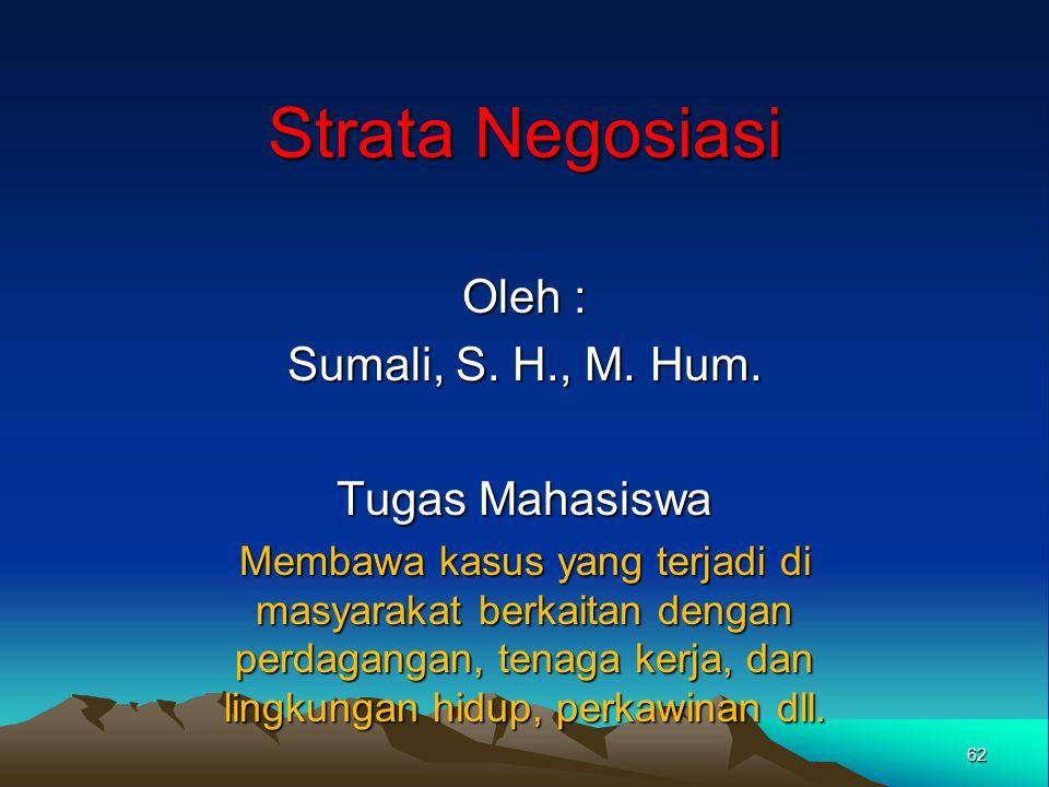 Strata Negosiasi Oleh : Sumali, S. H., M. Hum. Tugas Mahasiswa