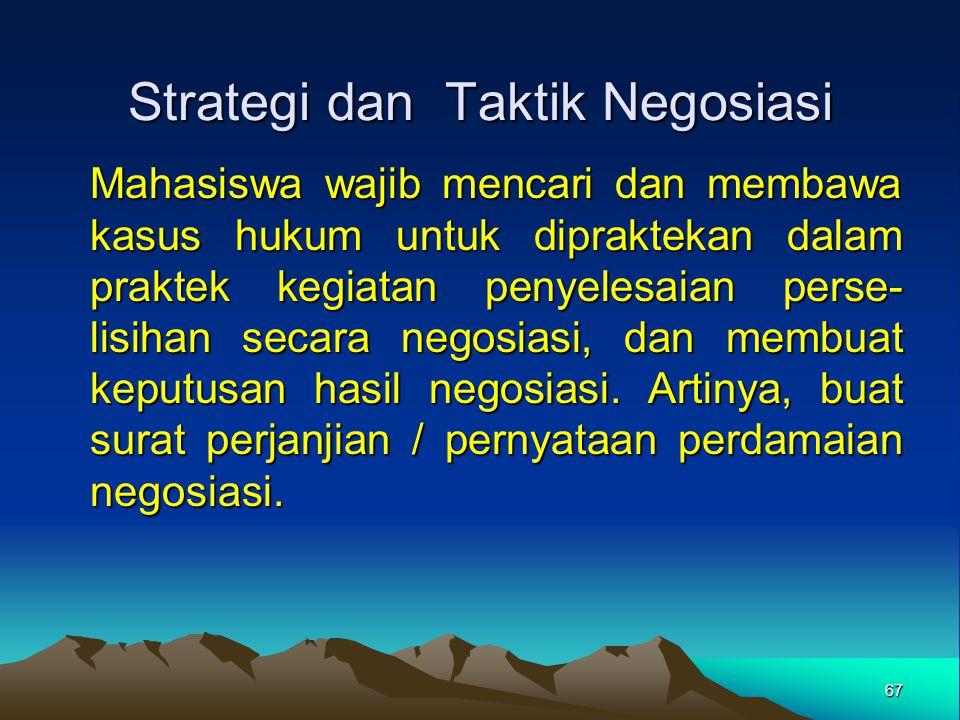 Strategi dan Taktik Negosiasi