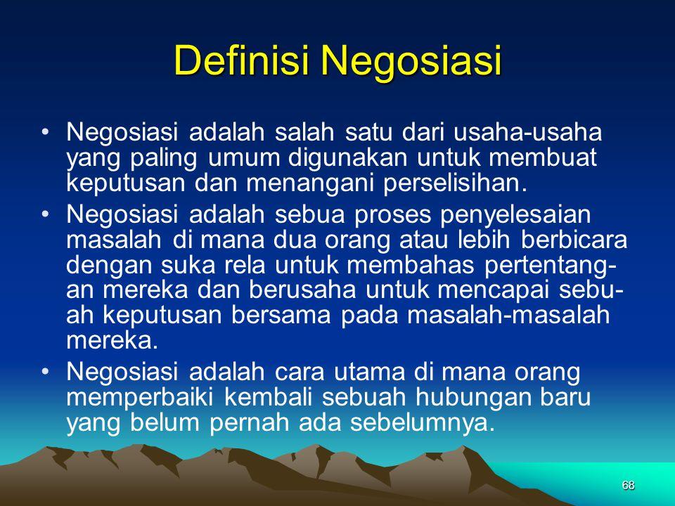 Definisi Negosiasi Negosiasi adalah salah satu dari usaha-usaha yang paling umum digunakan untuk membuat keputusan dan menangani perselisihan.