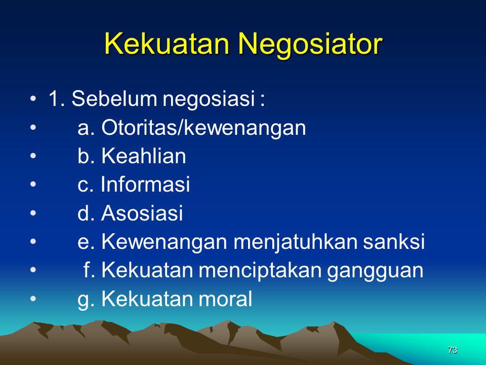 Kekuatan Negosiator 1. Sebelum negosiasi : a. Otoritas/kewenangan