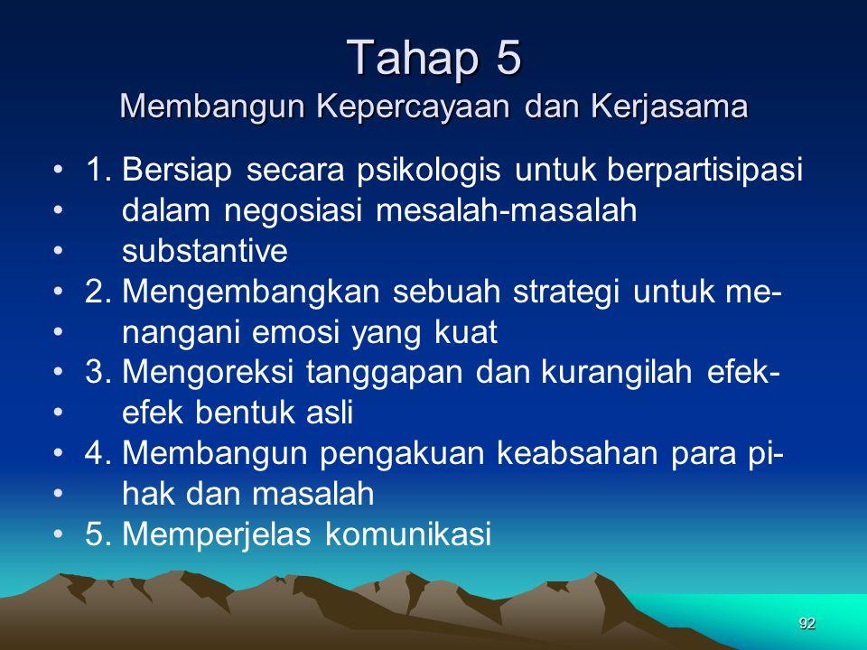 Tahap 5 Membangun Kepercayaan dan Kerjasama