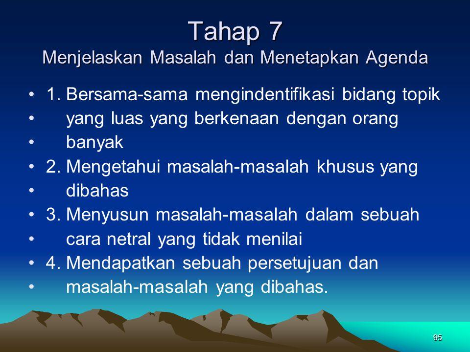Tahap 7 Menjelaskan Masalah dan Menetapkan Agenda