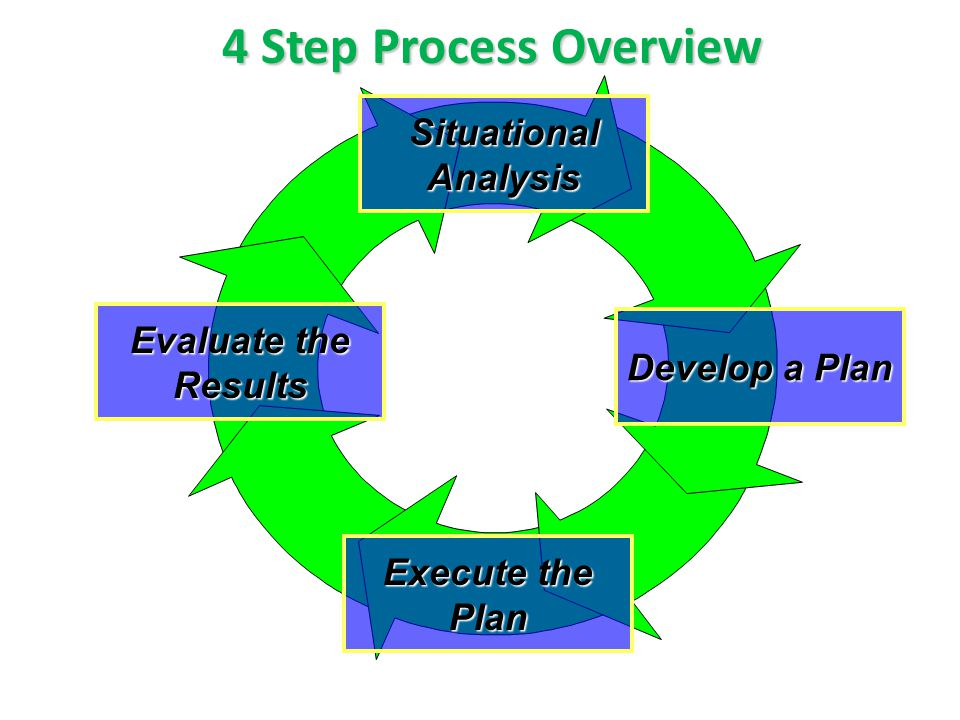 4 Step Process Overview Situational Analysis Evaluate the Results