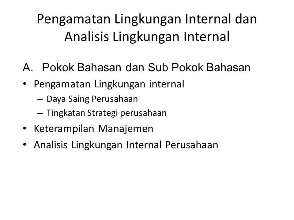 Pengamatan Lingkungan Internal dan Analisis Lingkungan Internal