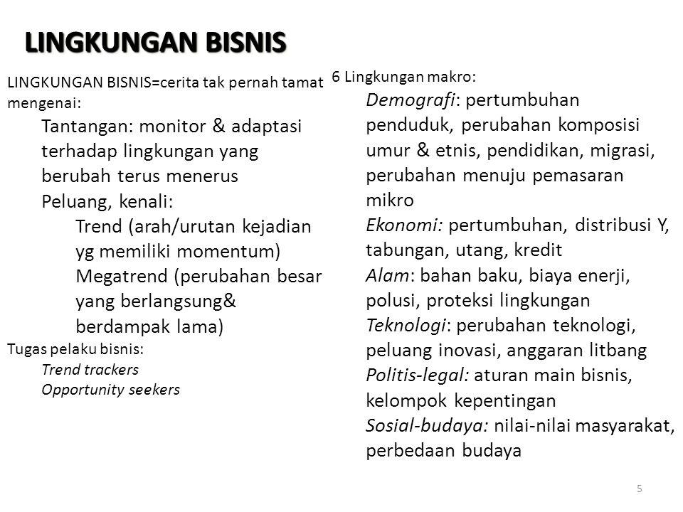 LINGKUNGAN BISNIS 6 Lingkungan makro:
