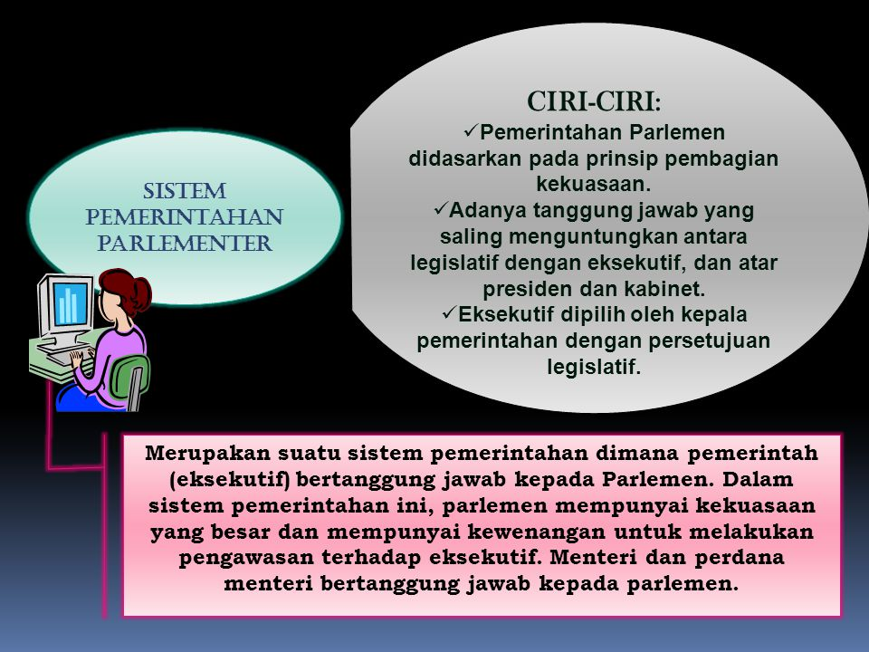 CIRI-CIRI: Pemerintahan Parlemen didasarkan pada prinsip pembagian kekuasaan.