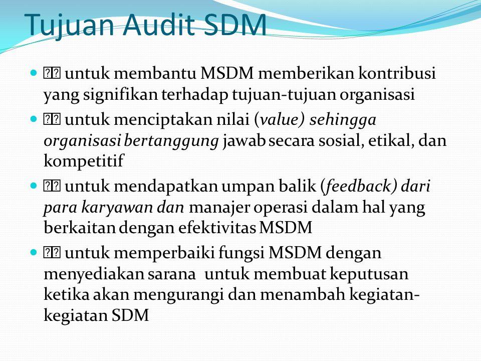 Tujuan Audit SDM  untuk membantu MSDM memberikan kontribusi yang signifikan terhadap tujuan-tujuan organisasi.