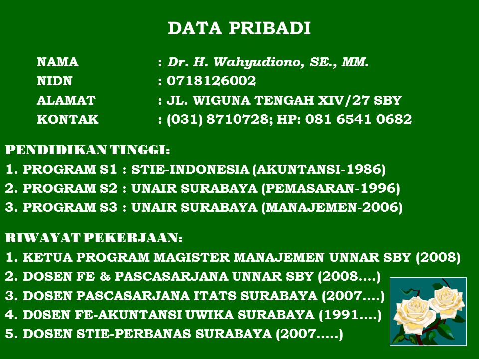 DATA PRIBADI NAMA : Dr. H. Wahyudiono, SE., MM. NIDN : 0718126002