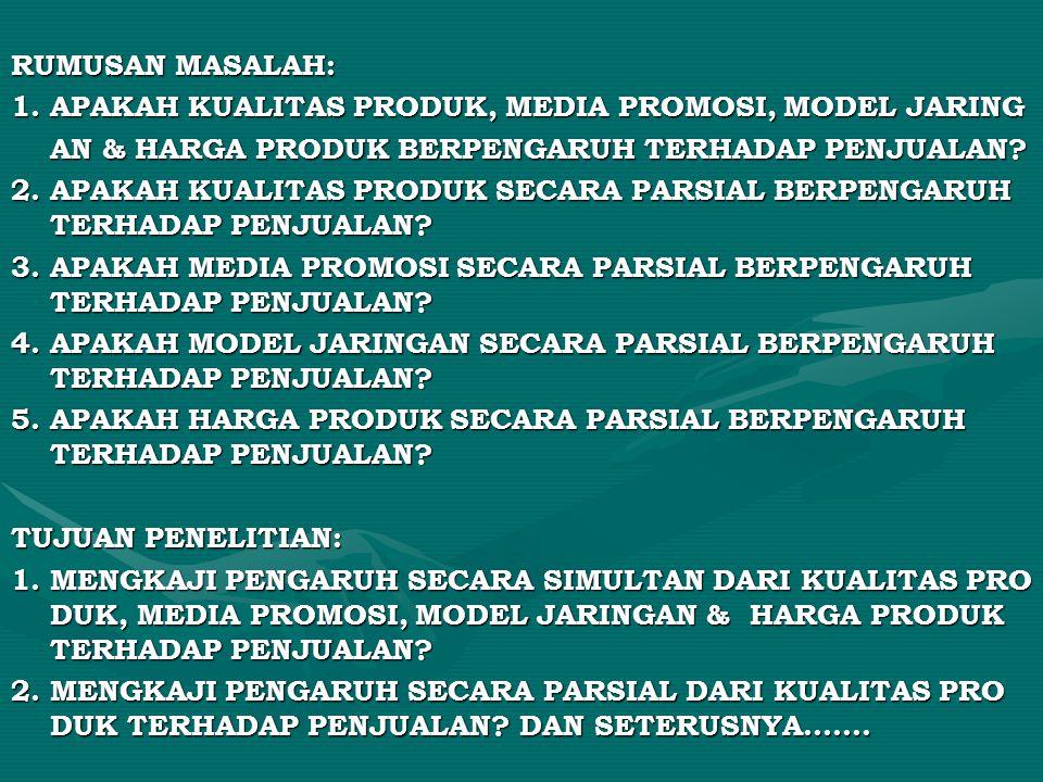 RUMUSAN MASALAH: 1. APAKAH KUALITAS PRODUK, MEDIA PROMOSI, MODEL JARING. AN & HARGA PRODUK BERPENGARUH TERHADAP PENJUALAN