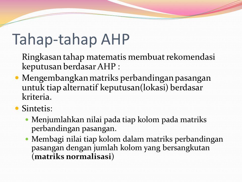 Tahap-tahap AHP Ringkasan tahap matematis membuat rekomendasi keputusan berdasar AHP :