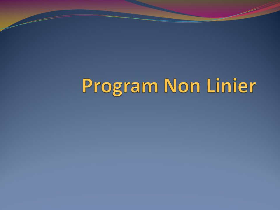 Program Non Linier