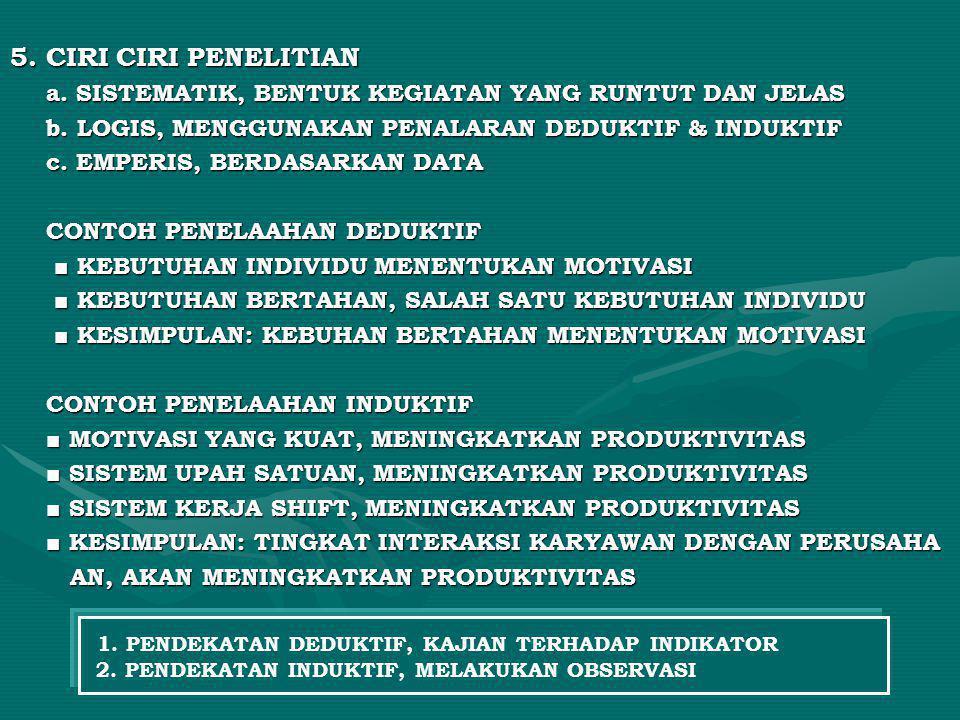 5. CIRI CIRI PENELITIAN a. SISTEMATIK, BENTUK KEGIATAN YANG RUNTUT DAN JELAS. b. LOGIS, MENGGUNAKAN PENALARAN DEDUKTIF & INDUKTIF.