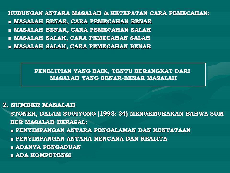 2. SUMBER MASALAH HUBUNGAN ANTARA MASALAH & KETEPATAN CARA PEMECAHAN: