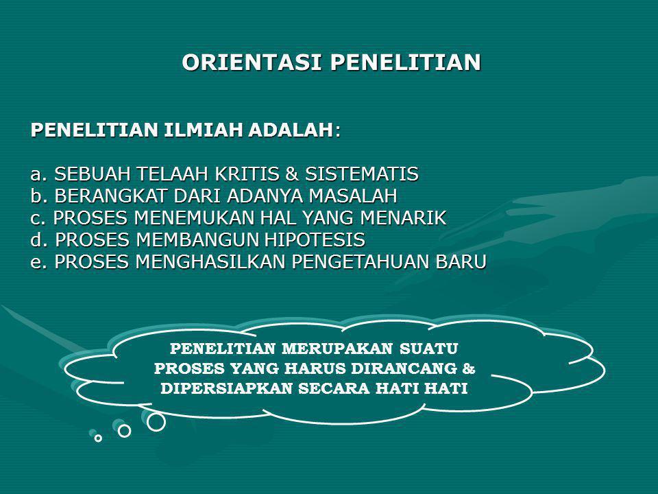 ORIENTASI PENELITIAN PENELITIAN ILMIAH ADALAH: