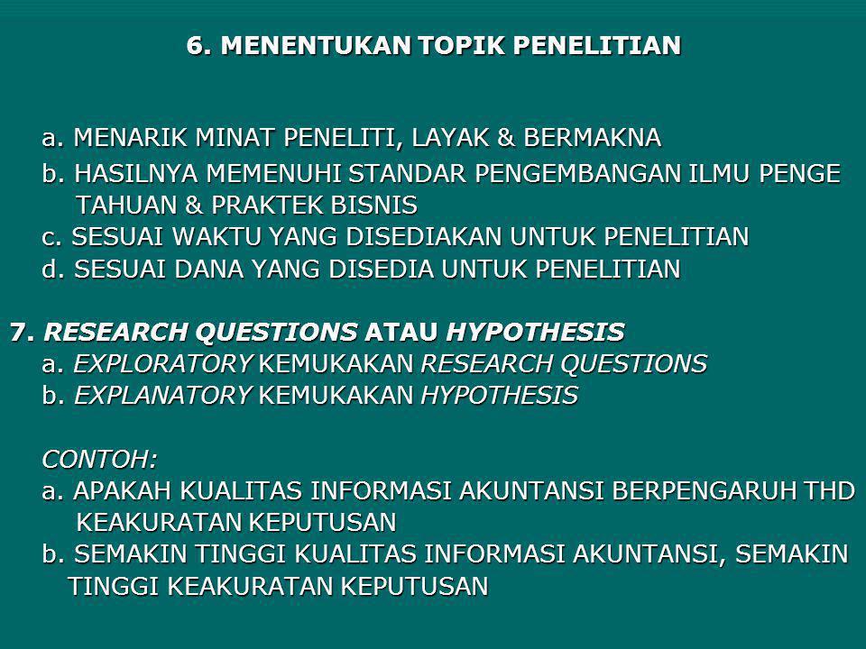 6. MENENTUKAN TOPIK PENELITIAN