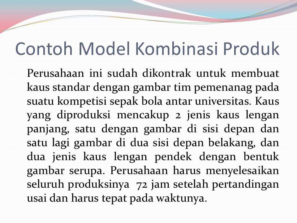 Contoh Model Kombinasi Produk