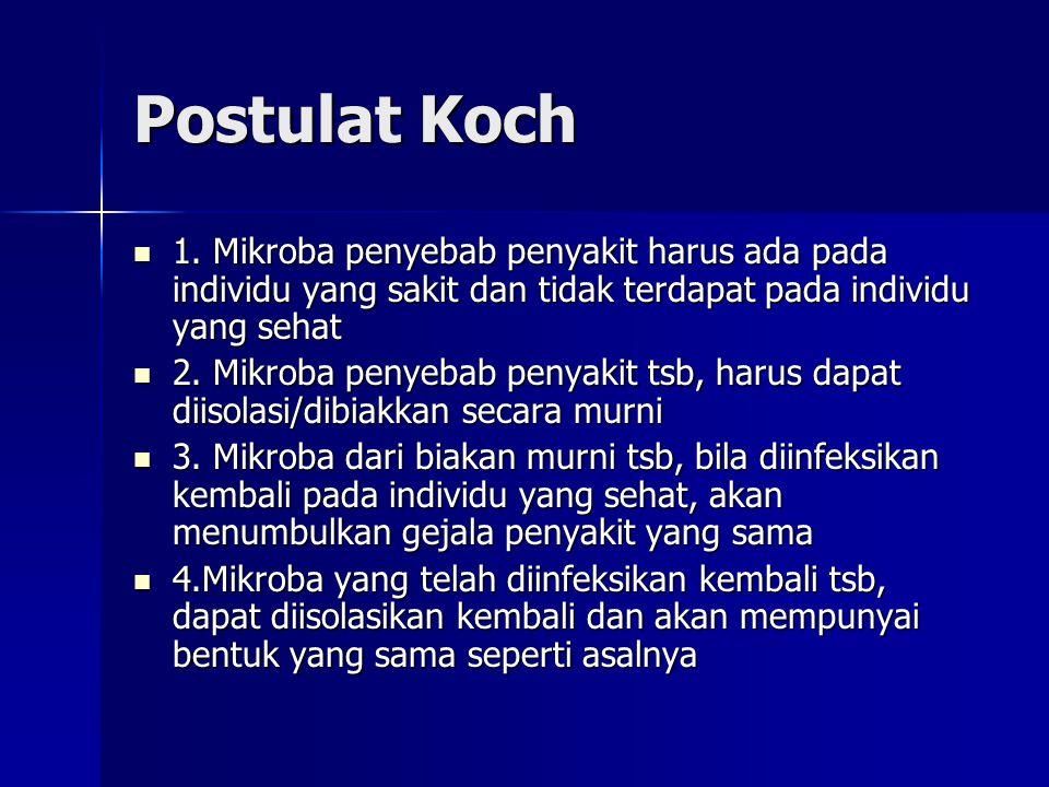 Postulat Koch 1. Mikroba penyebab penyakit harus ada pada individu yang sakit dan tidak terdapat pada individu yang sehat.