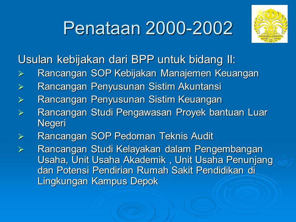 Penataan 2000-2002 Usulan kebijakan dari BPP untuk bidang II: