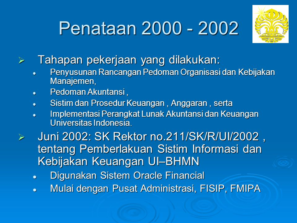 Penataan 2000 - 2002 Tahapan pekerjaan yang dilakukan: