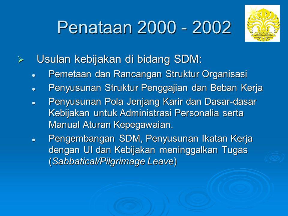 Penataan 2000 - 2002 Usulan kebijakan di bidang SDM: