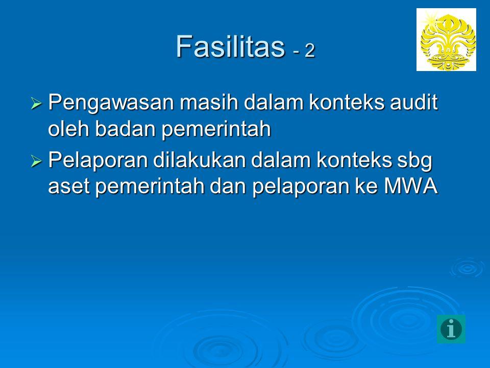 Fasilitas - 2 Pengawasan masih dalam konteks audit oleh badan pemerintah.