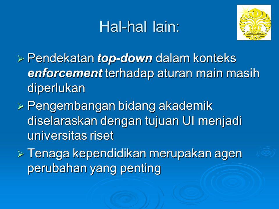 Hal-hal lain: Pendekatan top-down dalam konteks enforcement terhadap aturan main masih diperlukan.