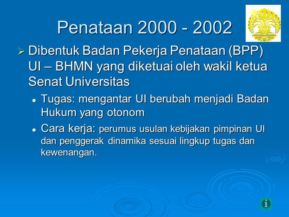 Penataan 2000 - 2002 Dibentuk Badan Pekerja Penataan (BPP) UI – BHMN yang diketuai oleh wakil ketua Senat Universitas.