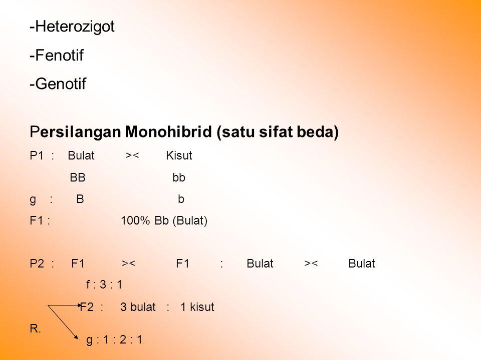 Persilangan Monohibrid (satu sifat beda)