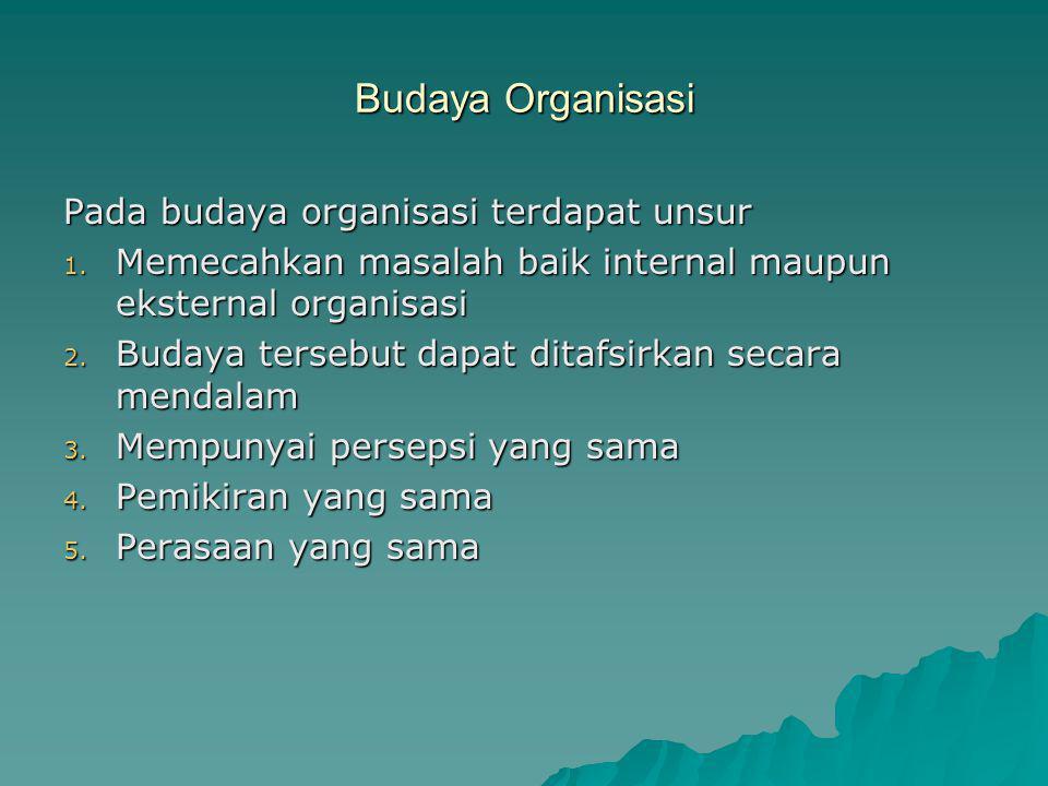 Budaya Organisasi Pada budaya organisasi terdapat unsur