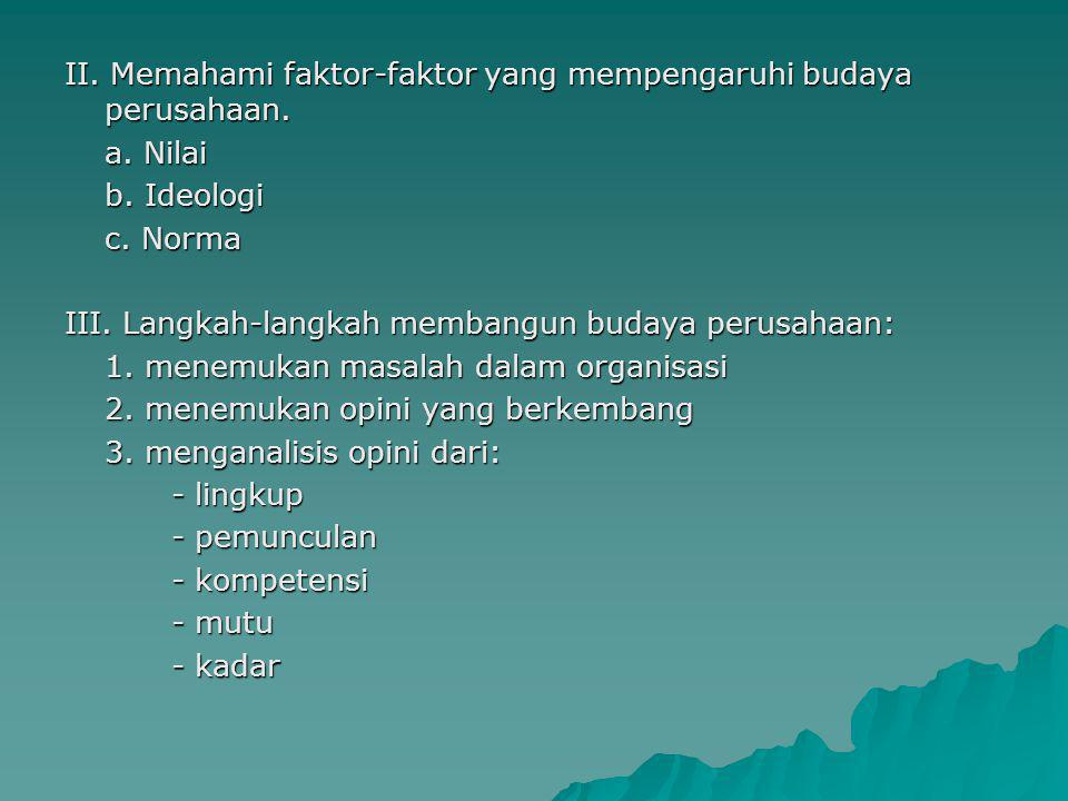 II. Memahami faktor-faktor yang mempengaruhi budaya perusahaan. a