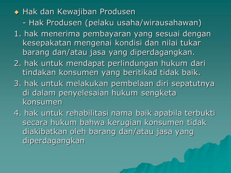 Hak dan Kewajiban Produsen