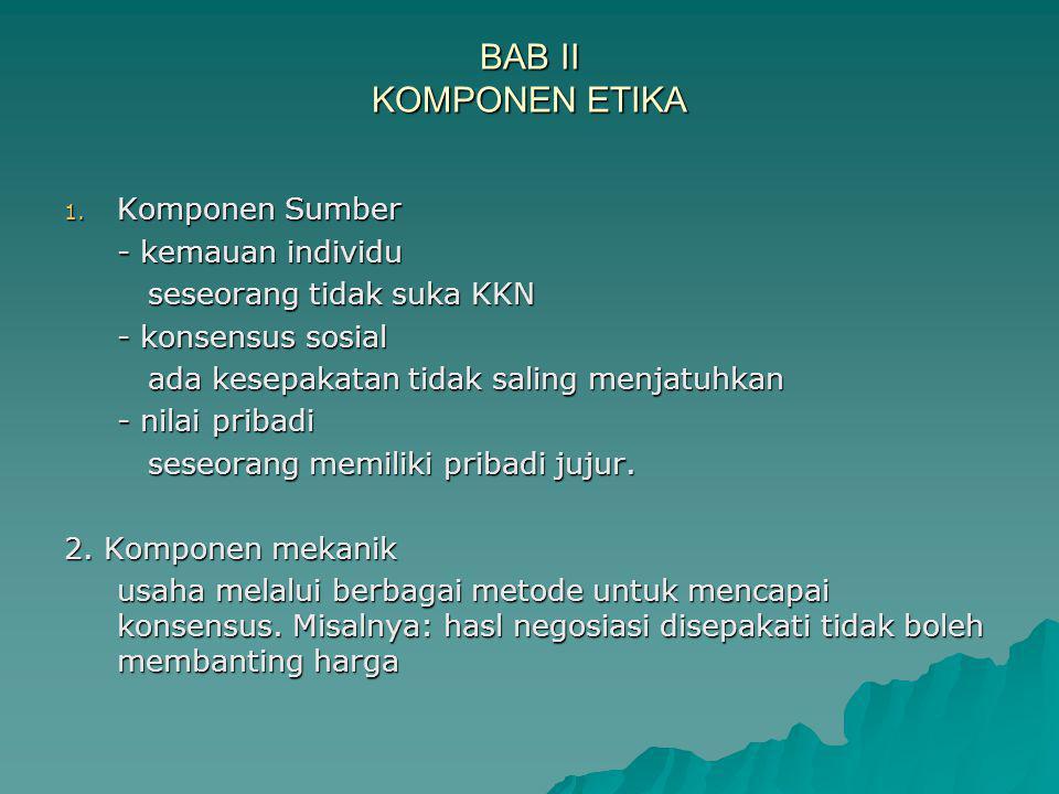 BAB II KOMPONEN ETIKA Komponen Sumber - kemauan individu