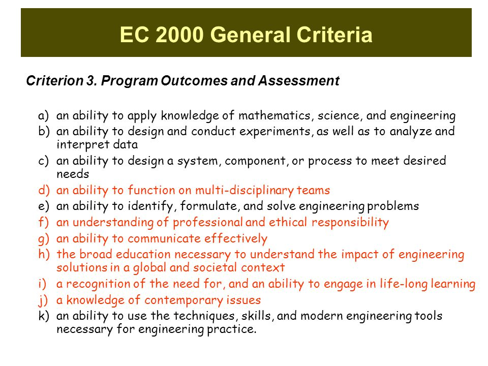 EC 2000 General Criteria Criterion 3. Program Outcomes and Assessment