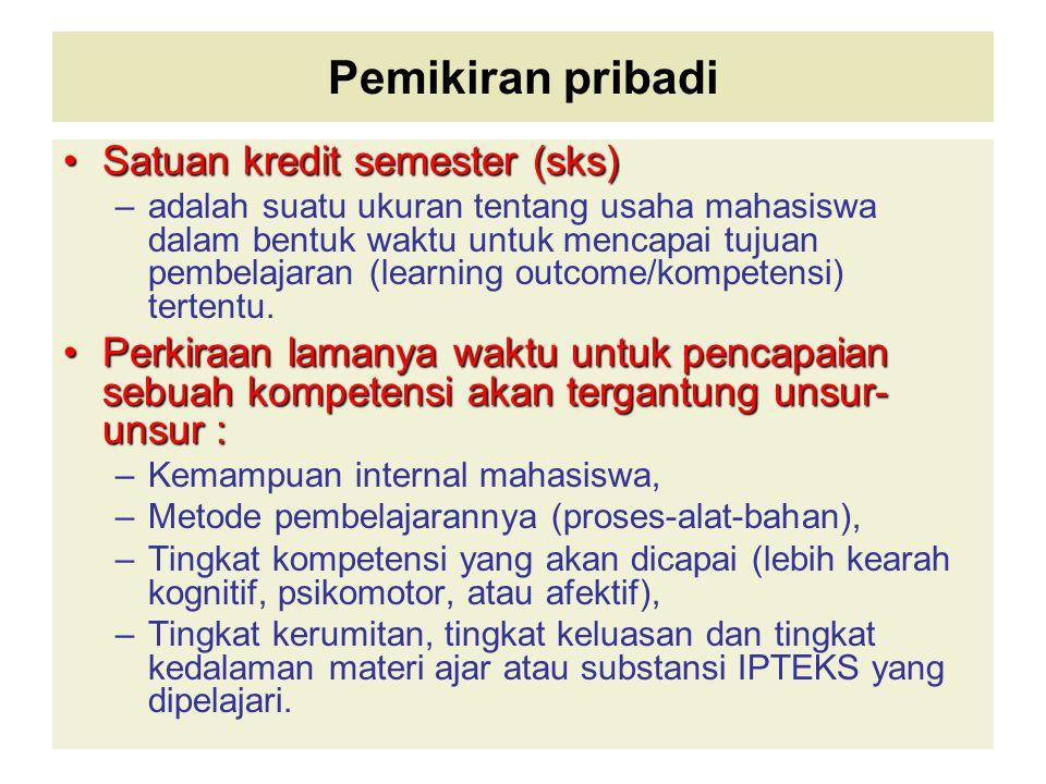 Pemikiran pribadi Satuan kredit semester (sks)