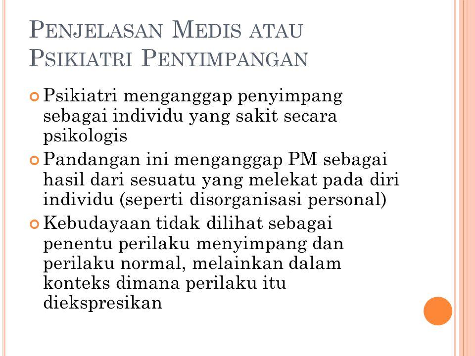 Penjelasan Medis atau Psikiatri Penyimpangan