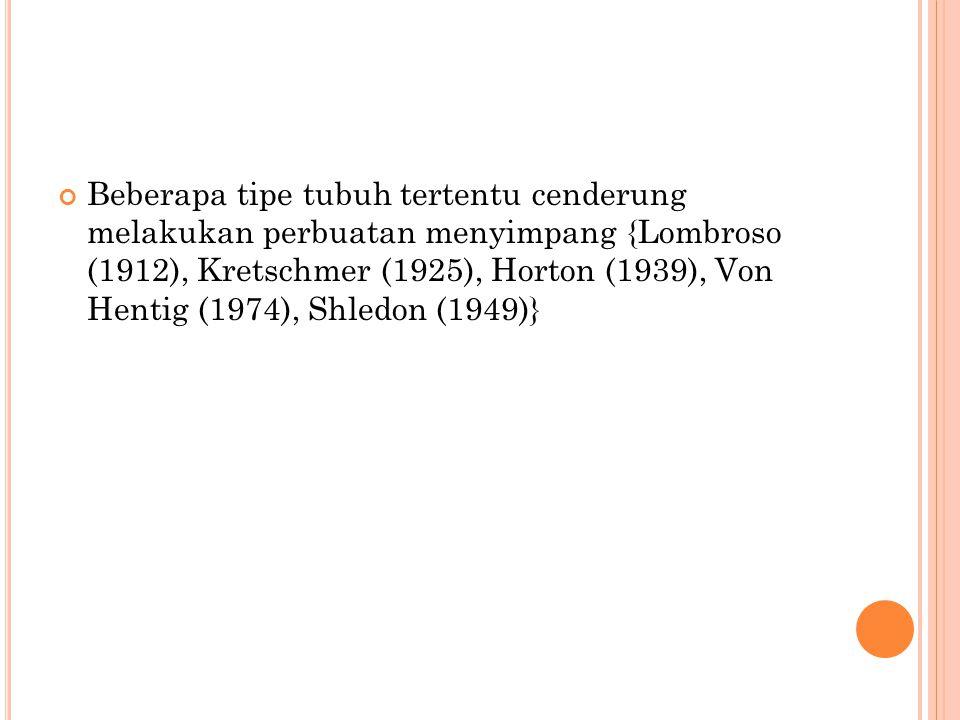 Beberapa tipe tubuh tertentu cenderung melakukan perbuatan menyimpang {Lombroso (1912), Kretschmer (1925), Horton (1939), Von Hentig (1974), Shledon (1949)}